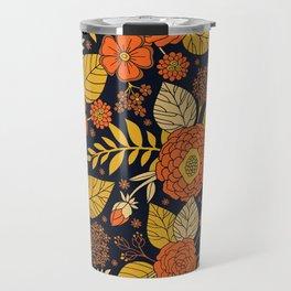 Retro Orange, Yellow, Brown, & Navy Floral Pattern Travel Mug
