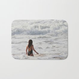 Breaking wave and girl Bath Mat