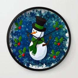 Snowman - Happy Holidays Wall Clock