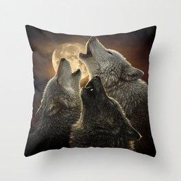 Wolf Trinity Throw Pillow