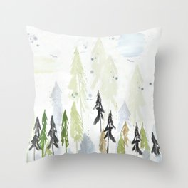 Into the woods woodland scene Throw Pillow