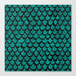 Mermaid Glam // Turquoise Glitter Watercolor Scales on Charcoal Chalkboard Canvas Print
