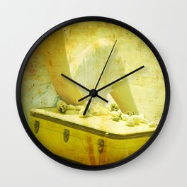 She Sells Seashells I seashells, tall tales, she sells seashells, nursery, rhyme, yellow, brown, gol Wall Clock