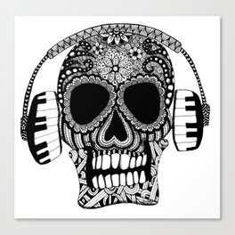 Tangled Skull with Headphones Canvas Print