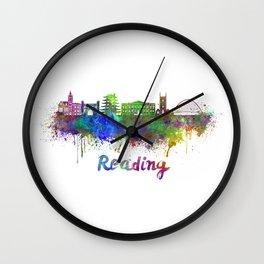 Reading skyline in watercolor Wall Clock