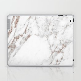 Rose gold shimmer vein marble Laptop & iPad Skin