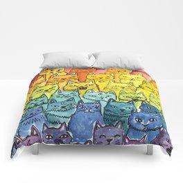 the pride cat rainbow  squad Comforters