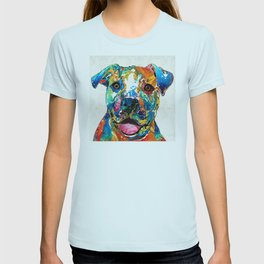 Colorful Dog Pit Bull Art - Happy - By Sharon Cummings T-shirt
