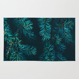 Pine Tree Close Up Neon Green Colorful Leaves Against A Black Background Rug