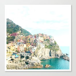 little houses on the hillside - Cinque Terre, Italy Canvas Print