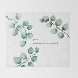 Grow wherever you are planted watercolor florals Throw Blanket