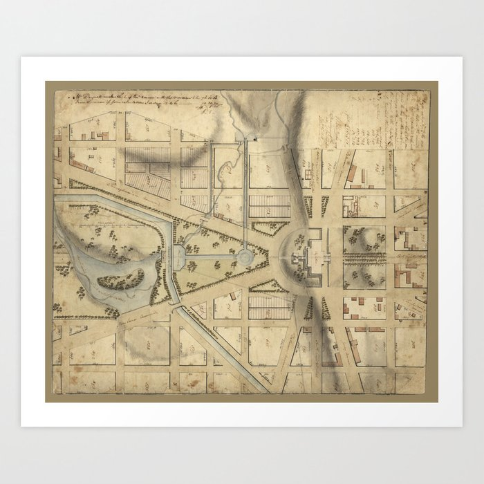 Vintage Washington DC Capitol Hill Map 1815 Art Print by