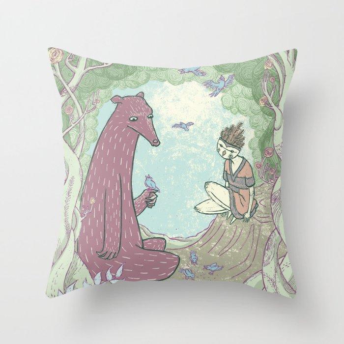 Bear and Bird Throw Pillow