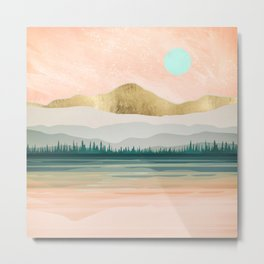 Spring Forest Lake Metal Print