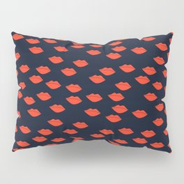 Red Lips on Navy Blue Background Pillow Sham