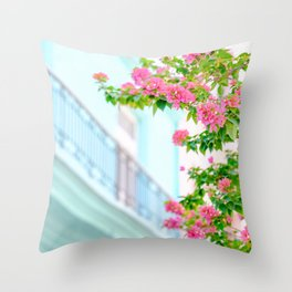 Colonial Havana Architecture with Pink Bougainvillea Throw Pillow