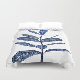 indigo ficus leaf watercolor Duvet Cover