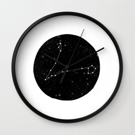 Pisces zodiac star sign constellation art black and white Wall Clock
