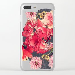 Vintage Flowers and Bees Clear iPhone Case