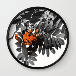 Red Rowan Berries In Black And White Background #decor #society6 Wall Clock