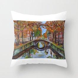 Bridge in Delft Throw Pillow