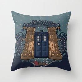 Art Nouveau Daleks and the TARDIS Throw Pillow