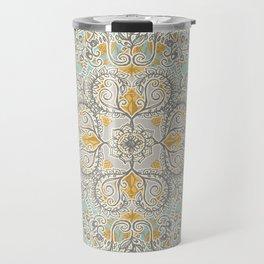 Gypsy Floral in Soft Neutrals, Grey & Yellow on Sage Travel Mug