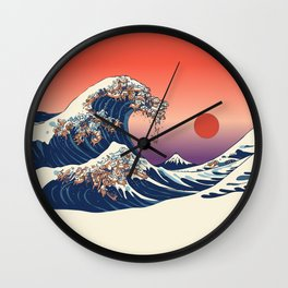 The Great Wave of Dachshunds Wall Clock