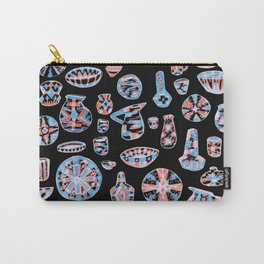 Pastel Neon Pottery on Black Carry-All Pouch