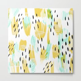 Adelynn - bold abstract - chartreuse green and soft mint Metal Print