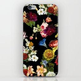Flowery (black version) iPhone Skin