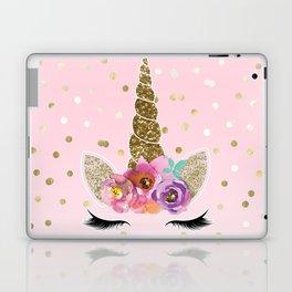 Floral Trendy Modern Unicorn Horn Gold Confetti Laptop & iPad Skin