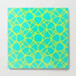 Turquoise yellow background Metal Print