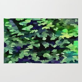 Foliage Abstract Camouflage In Forest Green and Black Rug