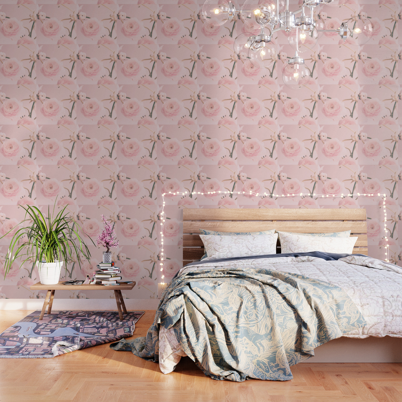 Pink Floral Nursery Ranunculus Wallpaper By Andreka Society6