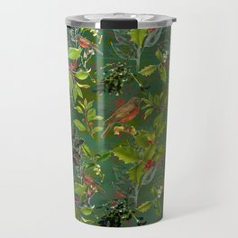 Christmas Pattern with Green Background Travel Mug