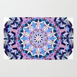 blue grey white pink purple mandala Rug