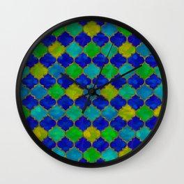 Ocean Breeze -Watercolor Moroccan Lattice Wall Clock