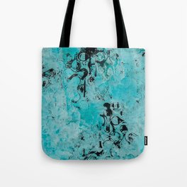 Turquoise Marble Stone with Black Ink overlay design Tote Bag