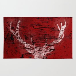 Industrial White Deer Silhouette on Red A313 Rug