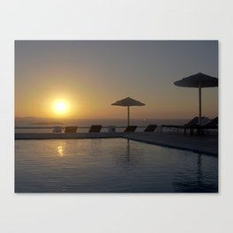 sunset on the pool Canvas Print