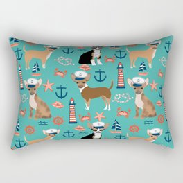 Chihuahua nautical sailor dog pet portraits dog costumes dog breed pattern custom gifts Rectangular Pillow