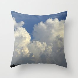 Billowing White Clouds Brilliant Blue Sky Throw Pillow
