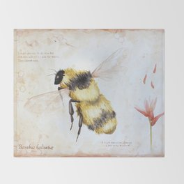 Bumble bee watercolor Throw Blanket