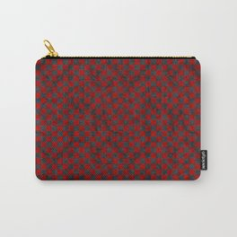 Retro Check Grunge Material Red Black Carry-All Pouch