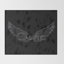 Castiel with Wings Black Throw Blanket