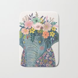 Elephant with flowers on head Bath Mat
