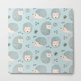 So Many Happy Little Hedgehogs To Hug Pattern Metal Print