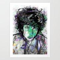 bob dylan Art Prints featuring Bob Dylan by Irmak Akcadogan