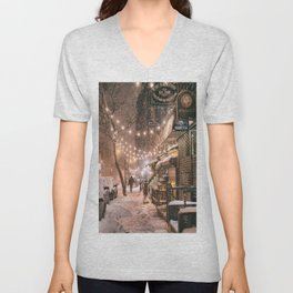 Snow - New York City - East Village Unisex V-Neck